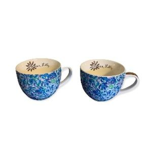 Lily Pulitzer Blue, Green, Purple, and White Floral Print Ceramic Tea Cups